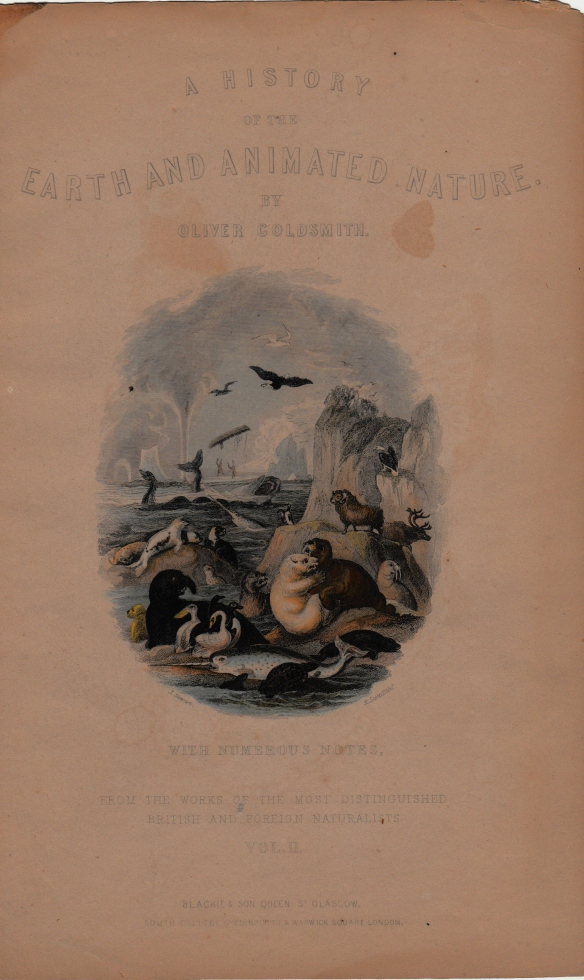 Cover page for the 1825 book A History of the Earth and Animated Nature by Oliver Goldsmith.